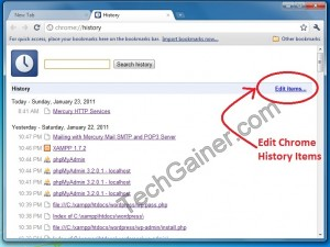 Now at history page, click on Edit Items