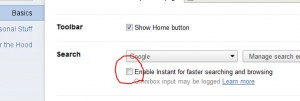 disable or enable google search chrome instant search