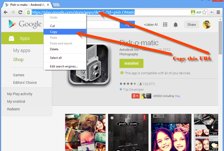 Copy the App URL of Google Play Store