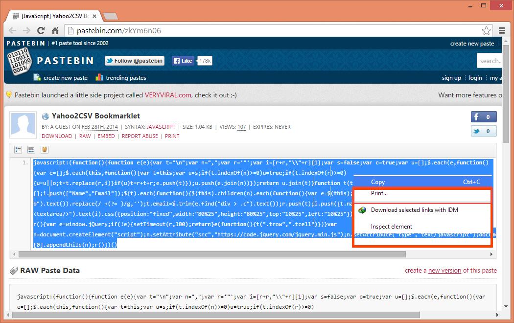 Copy JavaScript code from Pastebin