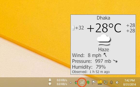 Display Weather on Desktop in Windows Taskbar and Screensaver