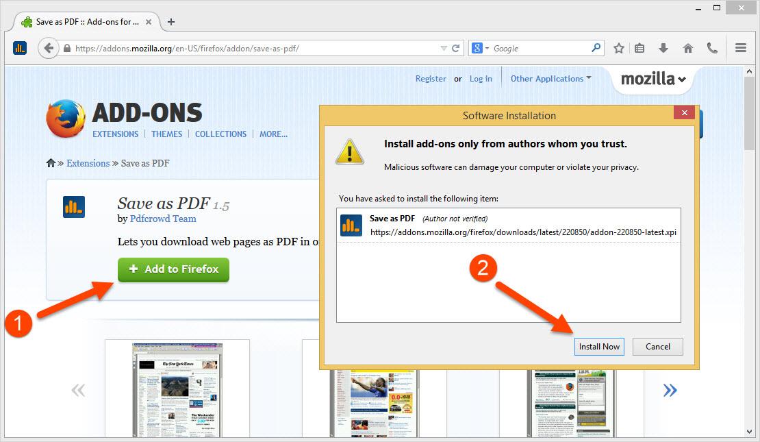 Análises para Print Friendly & PDF - Firefox