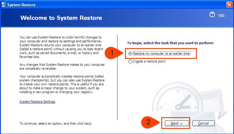 Restore computer to earlier date in Brisbane