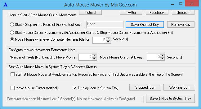 Move Mouse Pointer Automatically when you are away from