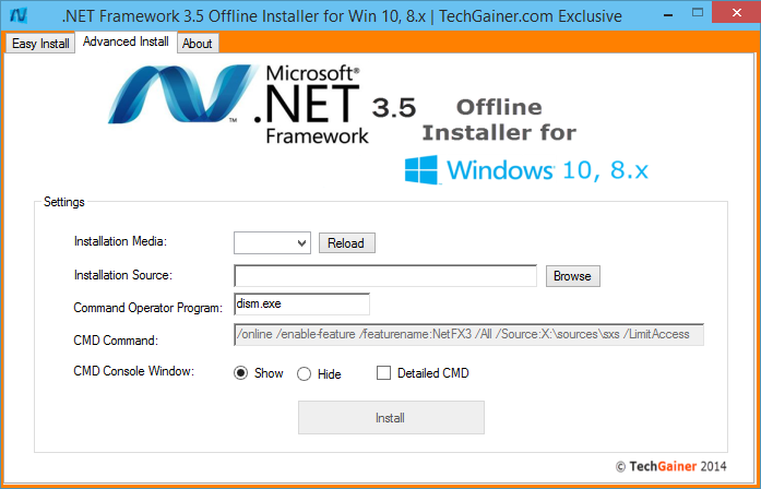 .NET Framework 3.5 Offline Installer for Windows 10 and 8.x | TechGainer